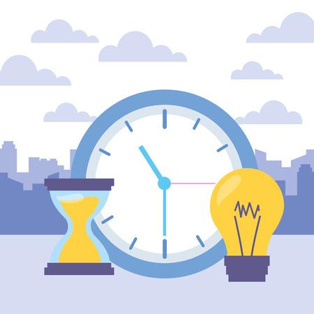 Ilustración de clock time hourglass bulb icons vector illustration - Imagen libre de derechos