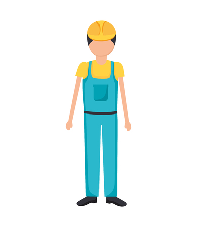Illustration for construction worker in overall uniform vector illustration - Royalty Free Image
