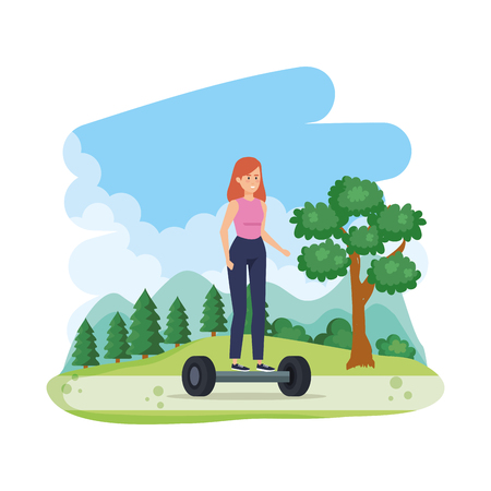 Illustration pour young woman in hoverboard electric in the field vector illustration design - image libre de droit
