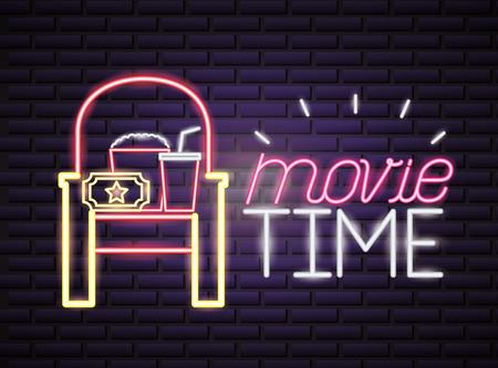 Illustration pour seat popcorn and soda movie time neon vector illustration - image libre de droit