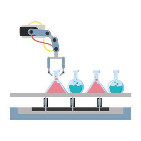 Illustration for science laboratory robot arm flasks vector illustration - Royalty Free Image