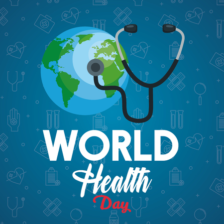 Illustration pour stethoscope examination earth planet to health day vector illustration - image libre de droit