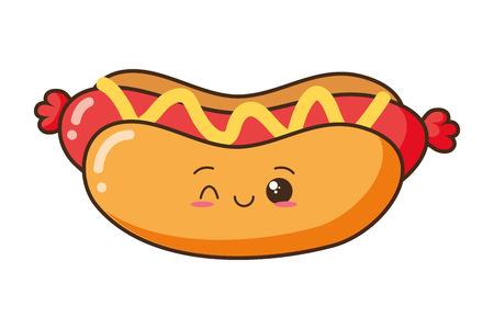 Illustration for cartoon hot dog white background vector illustration - Royalty Free Image