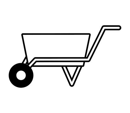 Illustration for wheelbarrow construction tool on white background vector illustration design - Royalty Free Image
