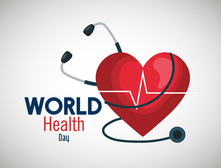 Illustration pour stethoscope with heartbeat to world health day vector illustration - image libre de droit