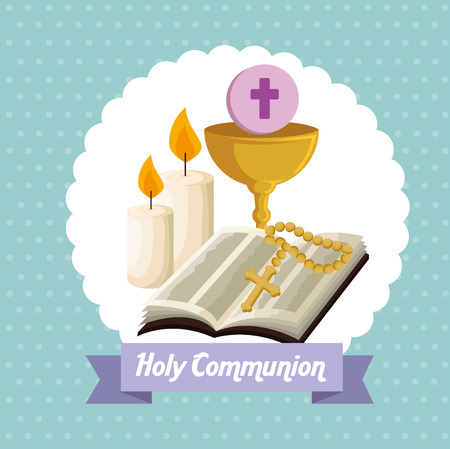 Illustration pour bible with chalice and host to first communion vector illustration - image libre de droit
