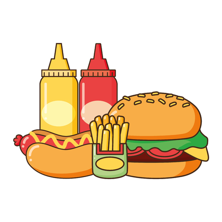 Illustration for burger hot dog french fries and sauces fast food vector illustration - Royalty Free Image