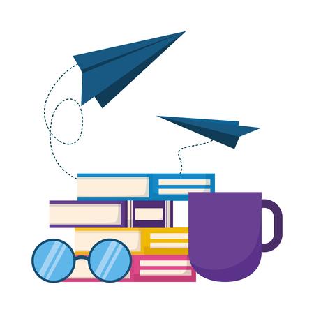 Ilustración de books eyeglasses paper plane coffee cup world book day vector illustration - Imagen libre de derechos