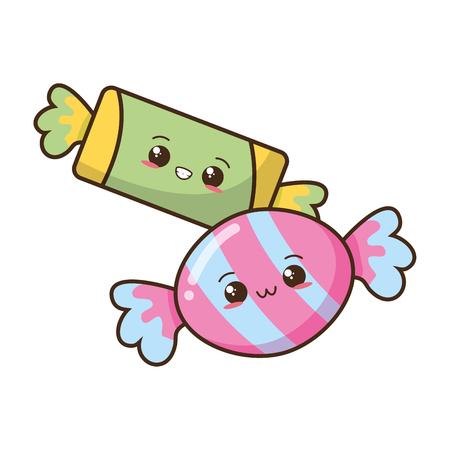 Illustration for kawaii sweet candies fast food vector illustration - Royalty Free Image