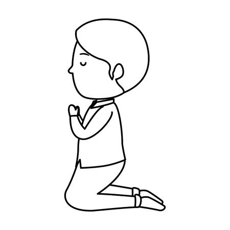 Illustration pour little boy kneeling first communion vector illustration design - image libre de droit