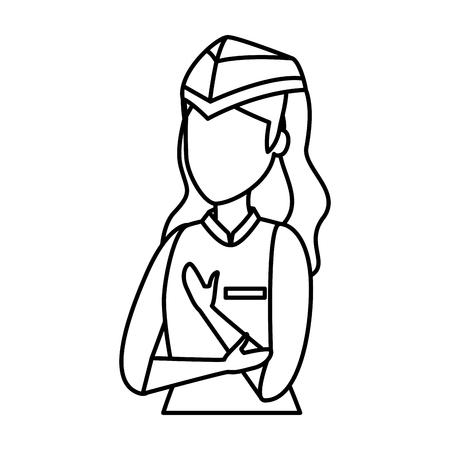 Ilustración de female flight attendant avatar character vector illustration design - Imagen libre de derechos