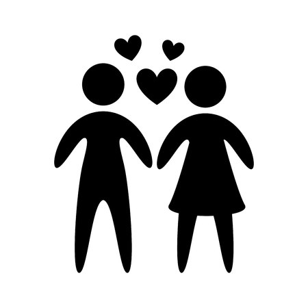 Ilustración de couple silhouette isolated icon vector illustration design - Imagen libre de derechos