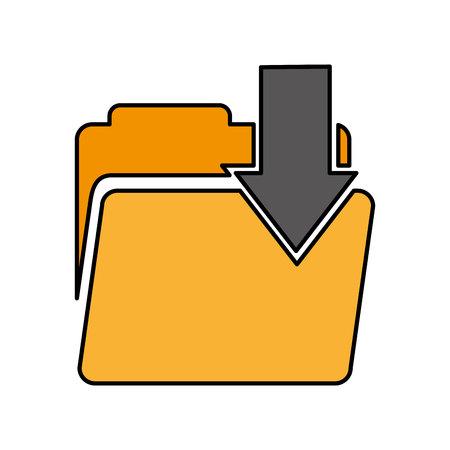 Illustration pour folder with arrow download vector illustration design - image libre de droit