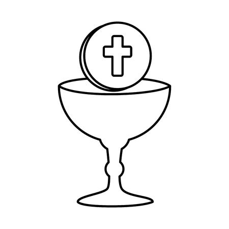 Illustration pour first communion in chalice vector illustration design - image libre de droit