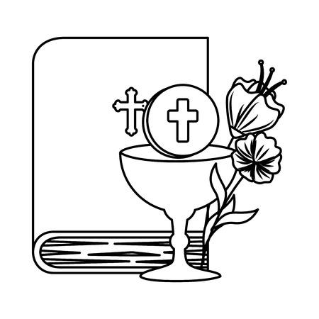 Illustration pour holy bible with chalice and flowers vector illustration design - image libre de droit