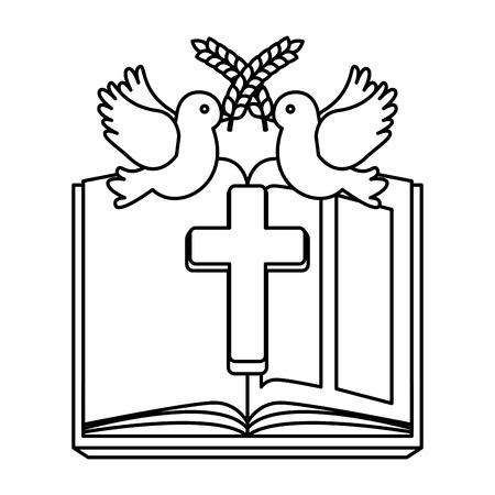 Illustration pour holy bible with wooden cross vector illustration design - image libre de droit