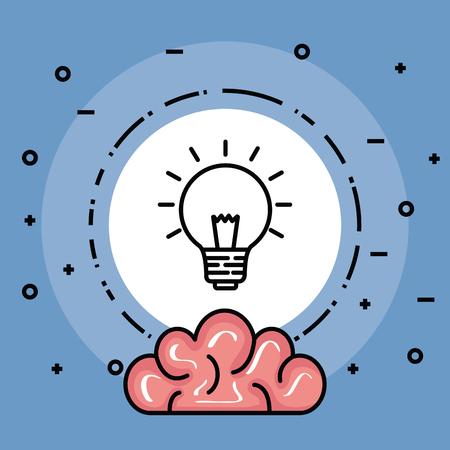 Illustration pour label with creative bulb idea and brain vector illustration - image libre de droit