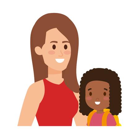 Illustration pour young mother with little daughter vector illustration design - image libre de droit