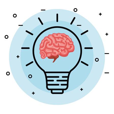Illustration pour brain with creative bulb idea to memory vector illustration - image libre de droit