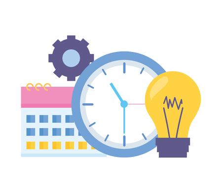 Illustration pour work clock time bulb gear - image libre de droit