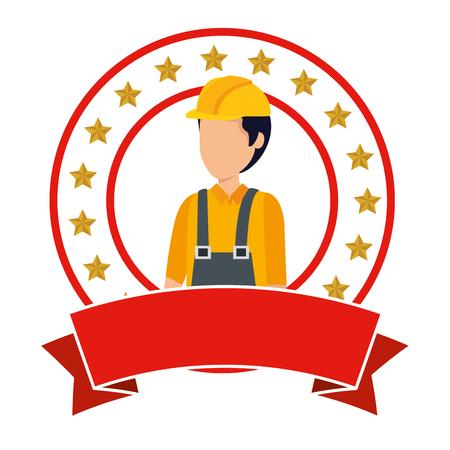 Illustration pour builder worker with helmet vector illustration design - image libre de droit