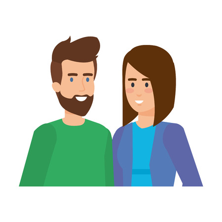 Illustration for young couple avatars characters vector illustration design - Royalty Free Image
