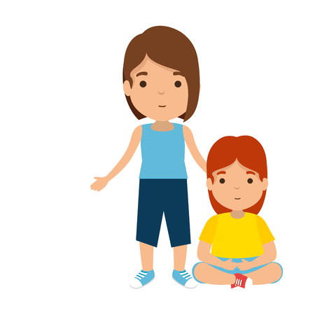 Illustration for mother with daughter characters vector illustration design - Royalty Free Image