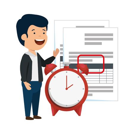 Illustration pour depressed man for money with taxes and alarm clock vector illustration design - image libre de droit