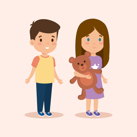 Illustration for cute boy and girl with teddy and hairstyle vector illustration - Royalty Free Image
