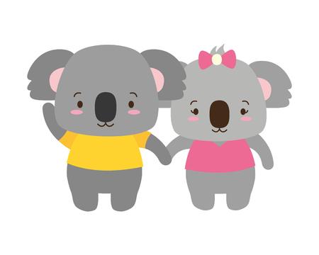 Illustration pour cute couple koala animal cartoon vector illustration design - image libre de droit