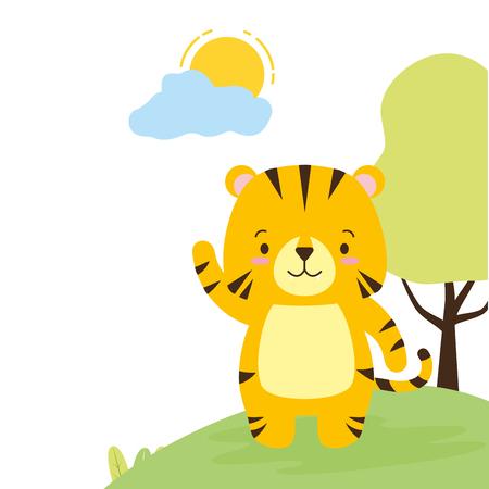 Illustration pour cute tiger animal cartoon vector illustration design image - image libre de droit