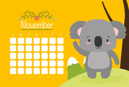 Illustration pour cute koala animal calendar cartoon vector illustration - image libre de droit