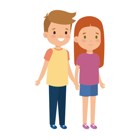 Illustration for little kids couple characters vector illustration design - Royalty Free Image