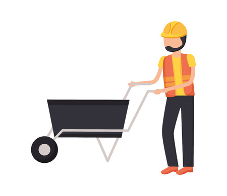 Illustration for worker with wheelbarrow construction tool vector illustration design - Royalty Free Image