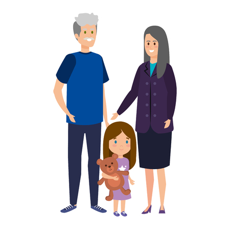 Illustration for cute grand parents couple with grandaughter vector illustration design - Royalty Free Image