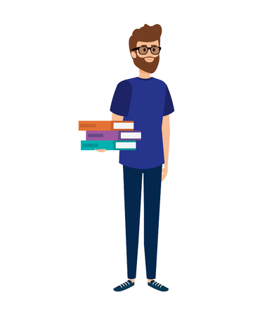 Illustration pour young teacher with books character vector illustration design - image libre de droit