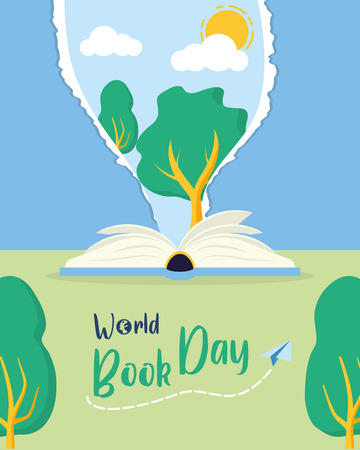 Illustration pour textbook tree nature lettering - world book day vector illustration - image libre de droit