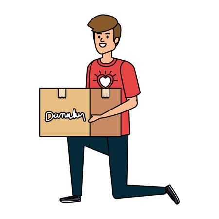 Illustration pour young man volunteer lifting donations box vector illustration design - image libre de droit