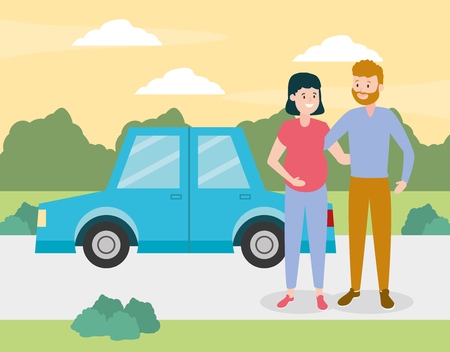 Illustration for family smiling pregnant couple with car vector illustration design - Royalty Free Image