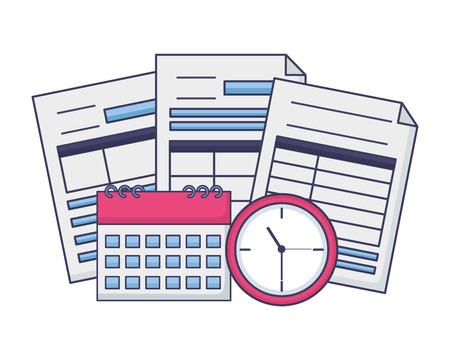 tax payment documents calculator calendar clock vector illustration