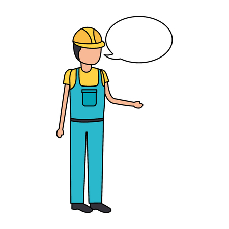 Illustration for worker construction talking speech bubble vector illustration - Royalty Free Image