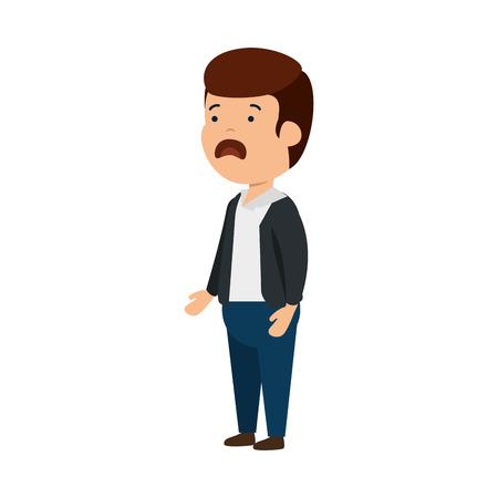 Ilustración de young sad man character vector illustration design - Imagen libre de derechos