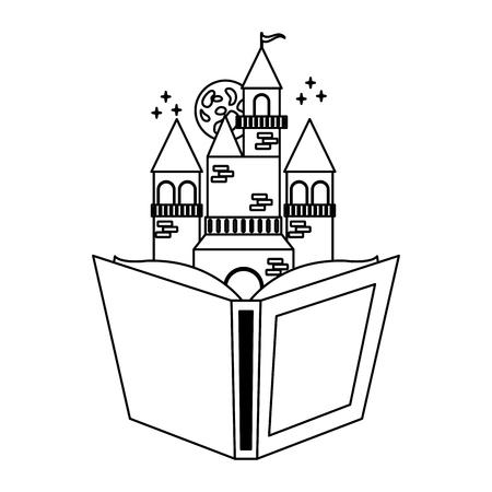 Illustration pour textbook castle fantasy world book day vector illustration - image libre de droit