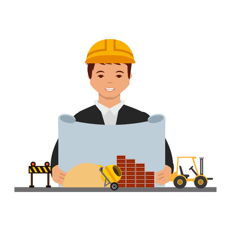 Illustration pour architect man with blueprint construction machinery equipment vector illustration - image libre de droit