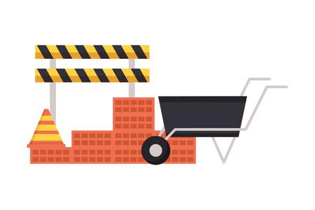 Illustration for wheelbarrow wall brick barricade construction equipment vector illustration - Royalty Free Image