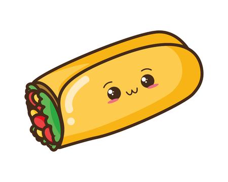Illustration for kawaii cartoon burrito character vector illustration design - Royalty Free Image
