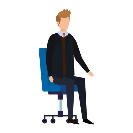 Illustration for elegant businessman sitting in office chair vector illustration design - Royalty Free Image