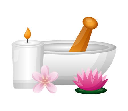 Illustration pour bowl candle flower spa treatment therapy vector illustration - image libre de droit
