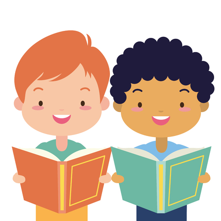 Illustration pour boy and girl with textbook world book day vector illustration - image libre de droit