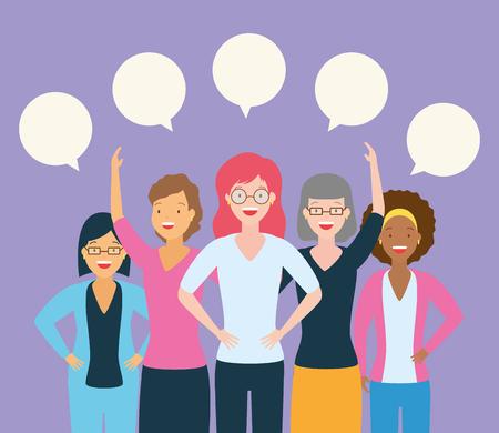 Ilustración de diversity women group talking bubbles vector illustration design - Imagen libre de derechos